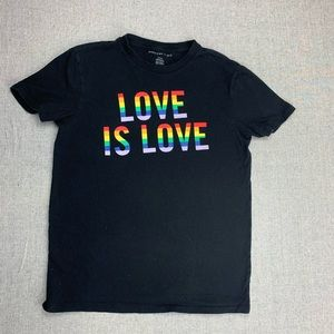 Love is Love men's small rainbow graphic t-shirt